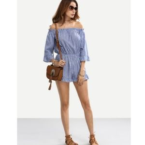 COMING SOON! Striped off the shoulder romper